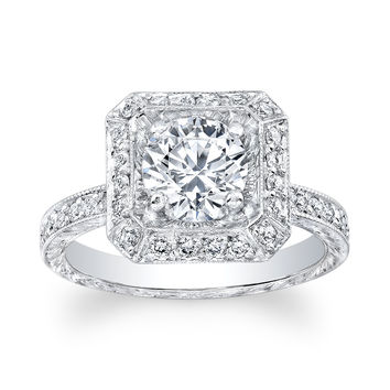Ladies 14kt white gold antique diamond and white sapphire engagement ring 0.64 ctw G-VS2 diamonds