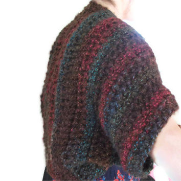 Crocheted Shrug/Wrap in Browns, Blues & Reds. Jacket, Cardigan, Fashion Accessories, Women. Party Season, Gift,