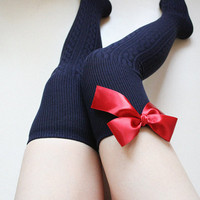 SCARLET Navy blue Over knee socks Thigh high Boot socks Leg warmer Preppy pin up retro Holiday gift socks