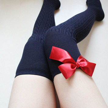 564eb5e1070f2 SCARLET Navy blue Over knee socks Thigh high Boot socks Leg warmer Preppy  pin up retro