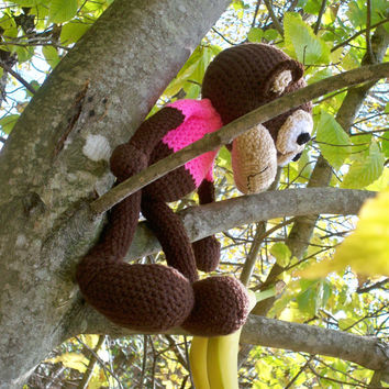 Crocheted stuffed monkey toy, great for children or adults! handmade, baby shower, birthday gifts, handmade stuffed animal toy