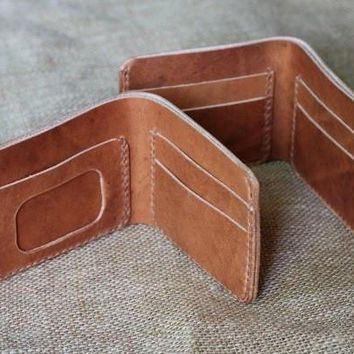 TRADITIONAL WALLET IN HORWEEN NATURAL DUBLIN