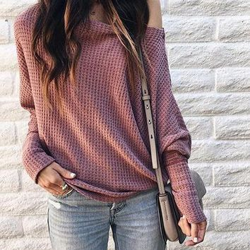 Pink Cold Shoulder Batwing Sleeve Women Knit Sweater