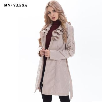 New Spring Women coat fashion trench coat adjustable waist belt fashionable slim fake memory ruffled collar outerwear