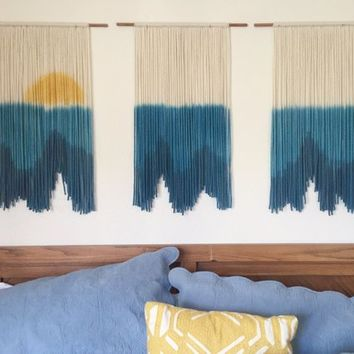 Bohemian tapestries, Ocean Inspired, Yarn Wall Hanging, Sunset wall tapestry, Triptych, Dip-dyed Tapestry, headboard art, yarn wall tapestry