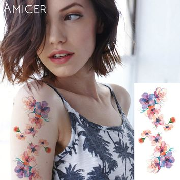 *1piece flash henna tattoo fake temporary tattoos stickers romantic rose flowers arm shoulder tattoo waterproof women on body