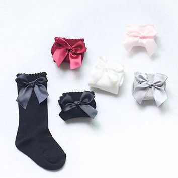 Baby Children Girls Bow Stockings Soft Cotton Knee High Stockings Cute White Black Red Pink gray 0-4Y