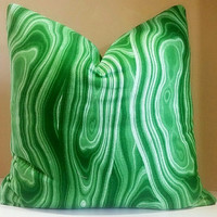 Christmas Pillow Cover - Emerald Green Pillow - Malachite Designer Pillow Cover, All sizes available - Select your size during checkout