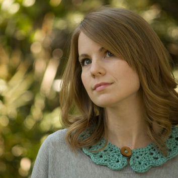 Mint Lace Collar, Crochet Collar, Peter Pan Collar, Green Blue Lacy Statement Necklace