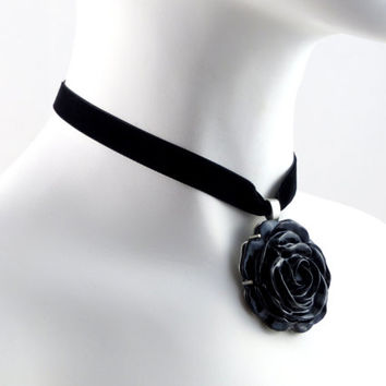 Large Black Rose Pendant on a Velvet Choker Necklace - Statement Women Jewelry, Romantic Gift, Flower