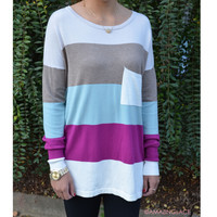 On The Horizon Ivory Stripe Pocket Sweater