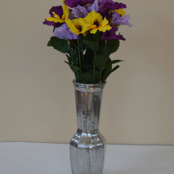 Silver Mercury Glass Vase, Glass Vase, Floral Accessory, Wedding , Anniversary, Silver Vase, Rounded Vase, Faux Finish