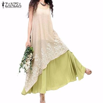 ZANZEA Women Summer Long Maxi Dress 2017 Ladies Casual Loose O Neck Short Sleeve Floral Embroidery Two Layers Vintage Vestidos