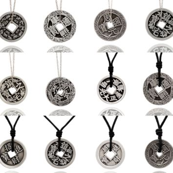 New Chinese Zodiac I-ching Silver Pewter Charm Necklace Pendant Jewelry