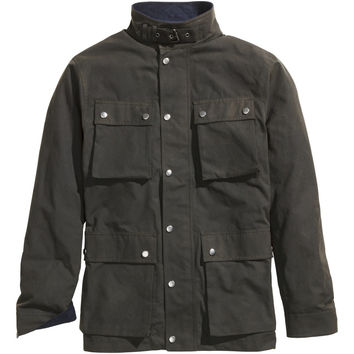 H&M - Jacket in Waxed Cotton - Khaki green - Men