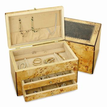 Light Birds Eye Maple Finish Inlaid Jewelry Box