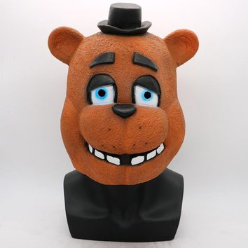 At  Mask Foxy Chica Freddy Bear Masks Gift For Adults Cosplay Halloween Party Latex Mask Costume Props Funny
