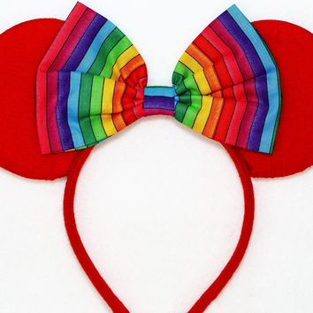 Red Minnie Mouse Ears with Rainbow Bow