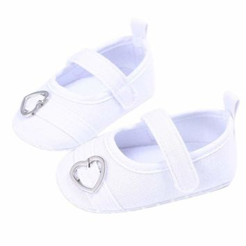 Baby Girls First Walkers Sweet Solid Color Heart Pattern Princess Anti-slip Shoes
