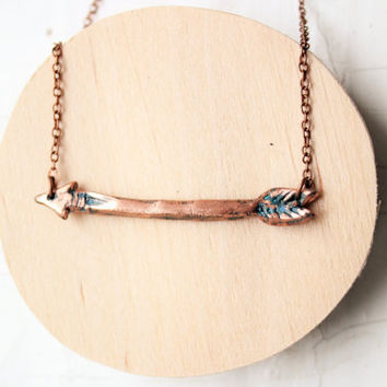 Arrow pendant - Arrow necklace - electroformed pendant - electroformed necklace - Arrow - boho - unique gift - eco friendly - christmas gift