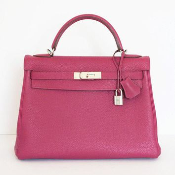 HERMES KELLY 32 TOSCA PINK PURPLE BAG TOGO LEATHER PHW
