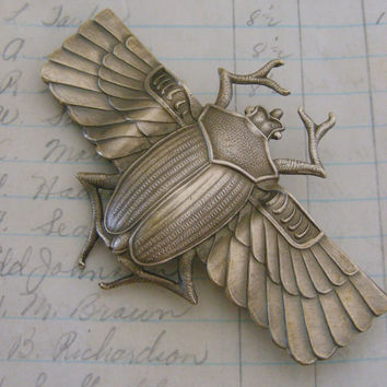 Art Deco - Egyptian Scarab Brooch - Large Coat Pin - Vintage Brass - Handmade