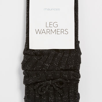 leg warmers with bow and metallic shimmer in black