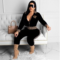 VERSACE New Popular Women Casual Round Collar Top Pants Set Two-Piece Black