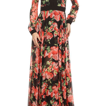 Floral Print Long Sleeve Relaxed Fit A-Line Maxi Dress VD984