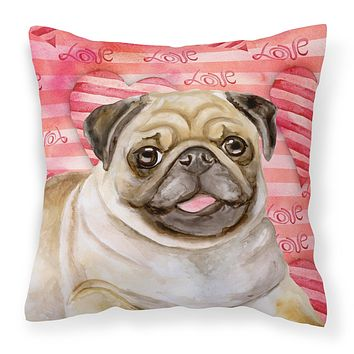 Fawn Pug Love Fabric Decorative Pillow BB9805PW1818