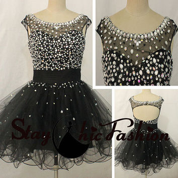 Sexy Open Back Rhinestones Beaded Mesh Top Cap Sleeves Black Short A Line Party Prom Dress 2015