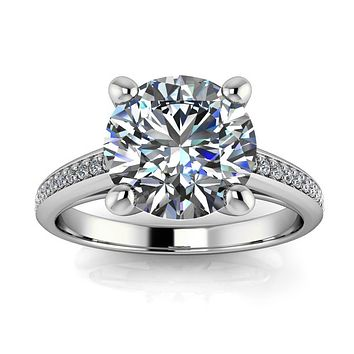 2 carat Moissanite and Diamond Engagement Ring - Madeline 2 ct