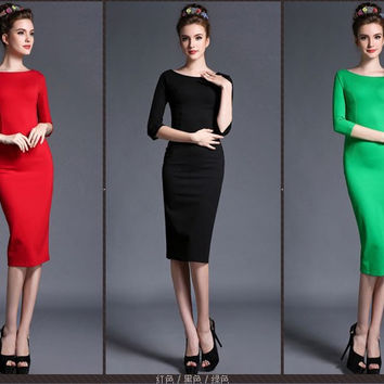 Half Sleeve Bodycon Midi Dress