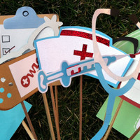 Photo booth props: nurses themed