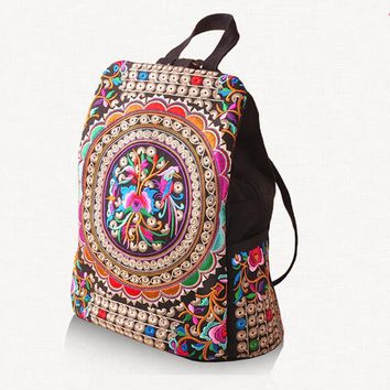 canvas embroidery Ethnic backpack women handmade flower Embroidered Bag  schoolbag