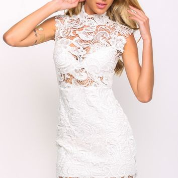 HelloMolly | Giselle Dress White - Sheer lace crotchet detailing Short-sleeved white bodycon dress