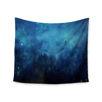 "888 Design ""Blue Night Forest"" Blue Black Wall Tapestry"