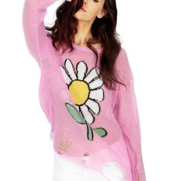 Pink Flowers Print Round Neck Long Sleeve Ripped Destroyed Knitwear Pullover Sweater
