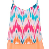 multicolor chevron stripe tiered chiffon tank