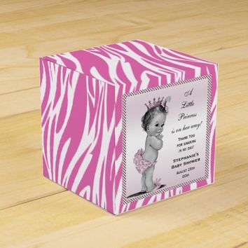 Vintage Princess Baby Shower Pink Zebra Pattern Favor Box