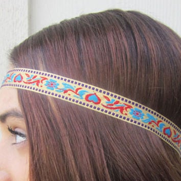 Headband, Aztec, Tribal, Hair band, Indian, Women, Accessories, Tapestry Headband, Hair, Bohemian Headband, Boho, Tribal, Hipster