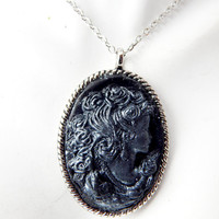 Lady Cameo Necklace cameo jewelry woman antique vintage style black cameo pendant polymer clay renaissance steampunk gothic jewellery
