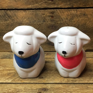 Vintage Sleeping Sheep Salt and Pepper Shakers pink and blue bandanas