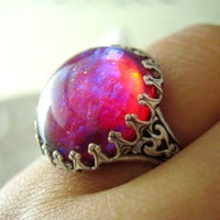 Lycoris-- Dragon's breath large opal glass stone antique silver brass adjustable ring