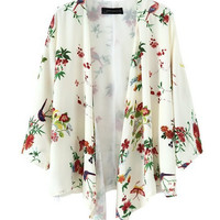Flower and Bird Print Kimono Cardigan Floral Print Chiffon Blouse