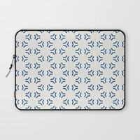 Acrylic Blue Pattern Circles Laptop Sleeve by Doucette Designs