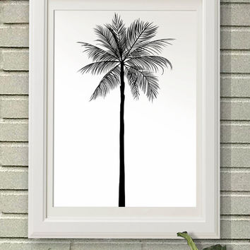 Palm Tree Silhouette, Digital Art Download, Digital Drint, Canvas Art, Art Print, Large Painting, Instant Download, 8x10