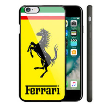 Ferrari Logo Yellow Automotive iPhone 6 6s 7 8 X Plus Hard Plastic Case