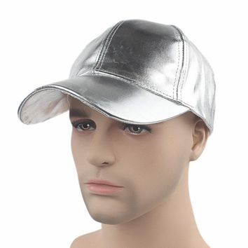 Fashion Male Solid Gold and Silver Painting Gilding Baseball Cap Faux Leather Snapback Hats For Men Casquette Gorras