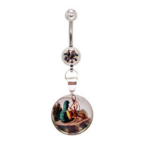 Alice in Wonderland  Picture Belly Button Ring 14g navel STYLE 4